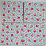 4 Ceramic Coasters in Cath Kidston Mini Provence Rose Blue
